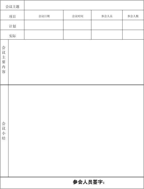 店长会议总结表
