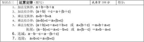 四年级下册数学知识点整理归纳