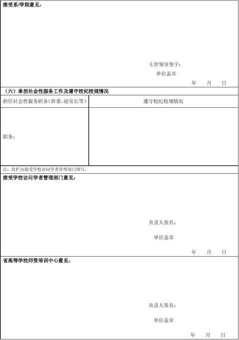 国内访问学者结业考核表