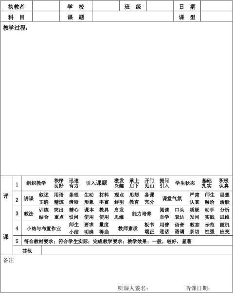 20xx版中小学听课记录与评课记录