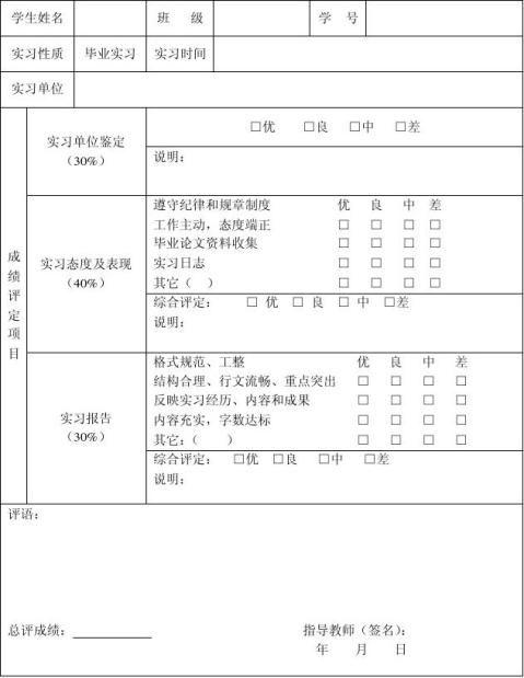 实习报告封面格式