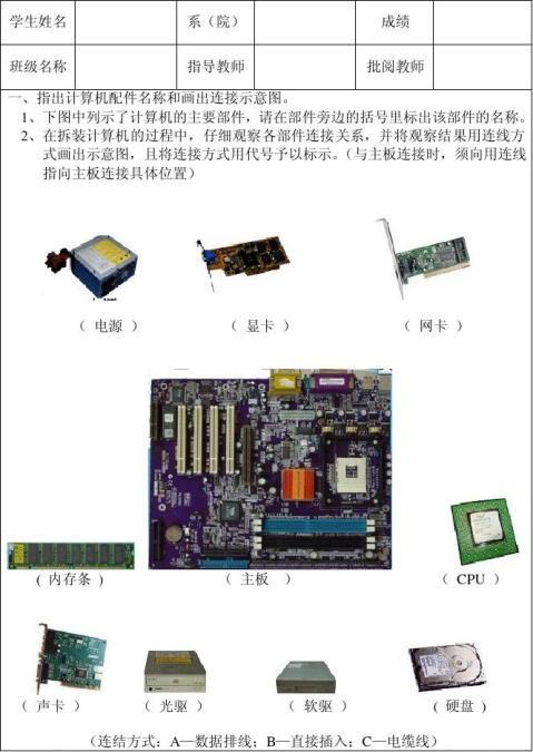计算机组装与维护实训报告与总结