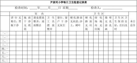 小学每日卫生检查表打印版