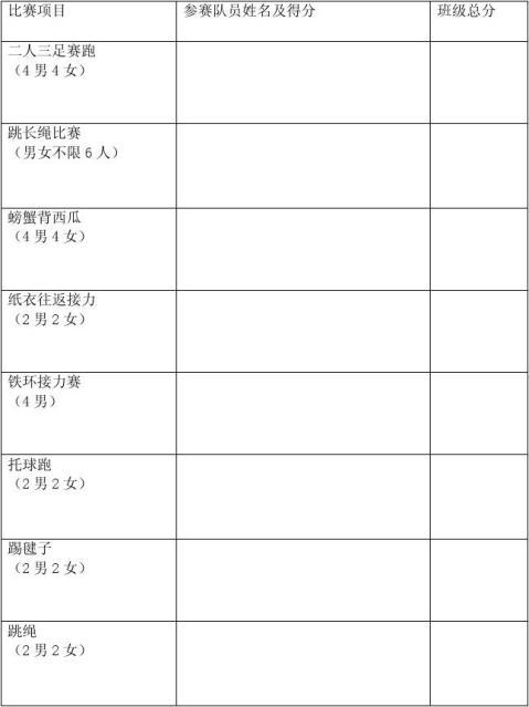 小学生趣味运动会策划书2