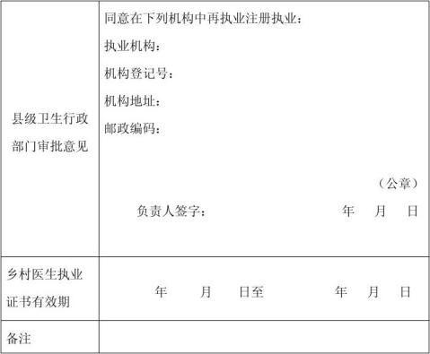 福建省乡村医生执业再注册申请审核表
