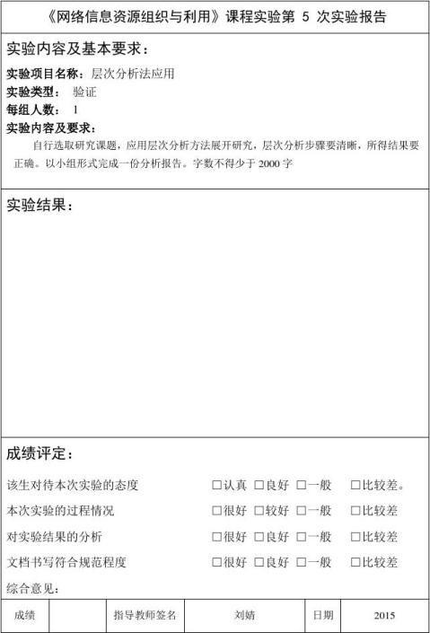 学号姓名网络信息资源组织与利用实验报告本科