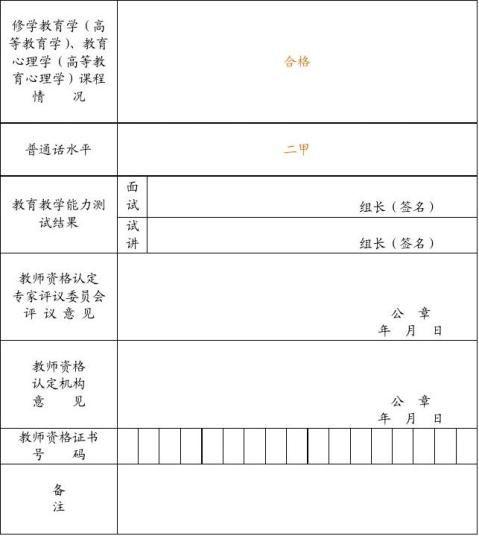 教师资格证资料填写范本包括申请表品德鉴定表和体检表