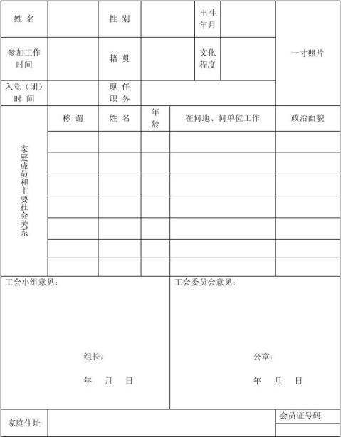 入工会申请书1