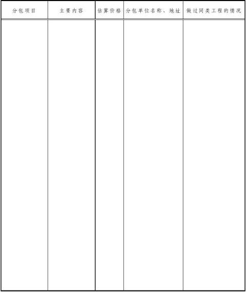 工程类投标书范本及表格