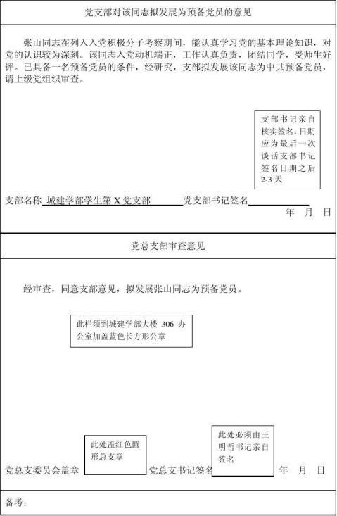 入党积极分子培养考察登记表填写范例1