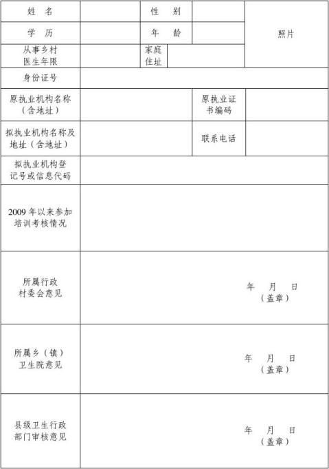 乡村医生注册申请表