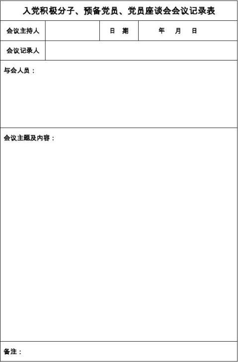 入党积极分子预备党员党员座谈会会议记录表