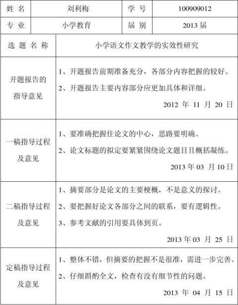 毕业论文指导记录指导教师意见表