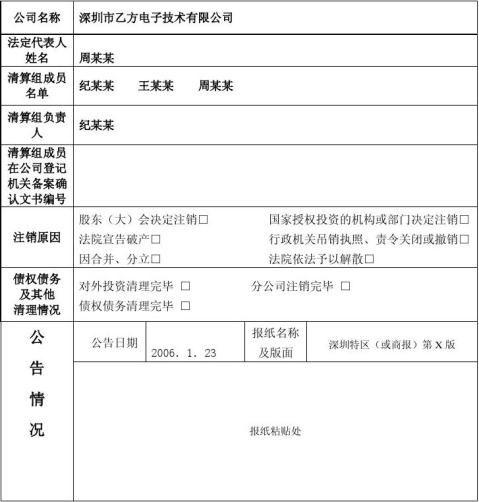 公司注销登记申请书范文本