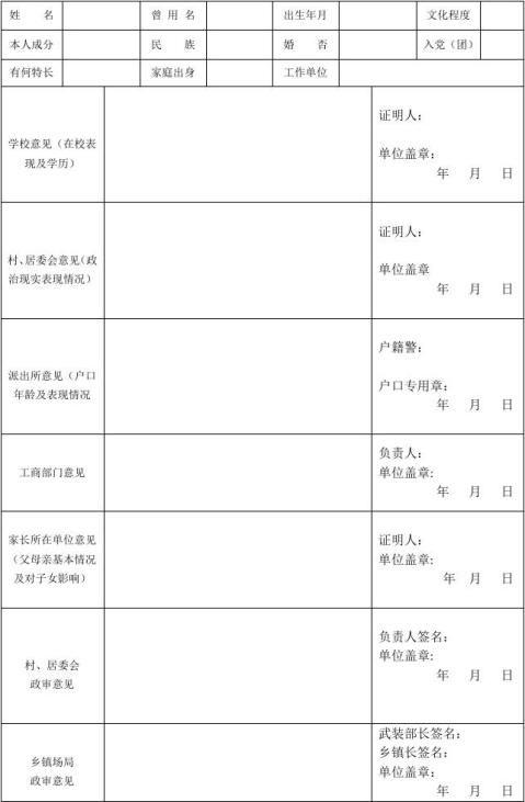 征兵政审材料表顺序空白表