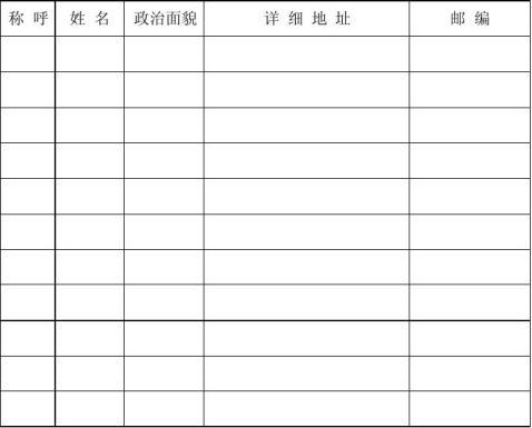 入党时填写的家庭主要成员及主要社会关系模板