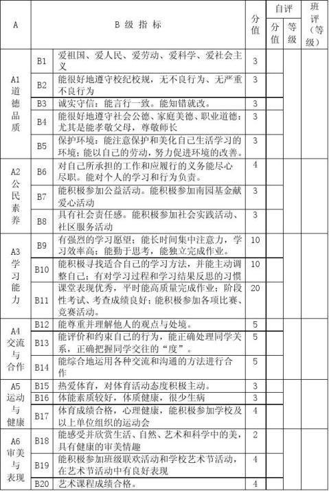 高中学生综合素质评价表