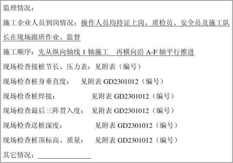 旁站监理记录表填写实例