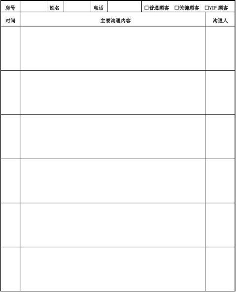 顾客沟通记录表