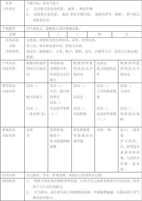 大班幼儿园周工作计划表
