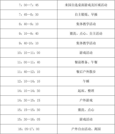 幼儿园一日活动计划和一周活动计划安排表
