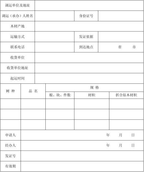 木材运输证申请书NO新余市人民政府