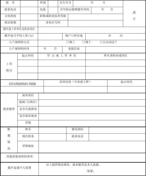 深圳市随军家属首次安置求职申请表