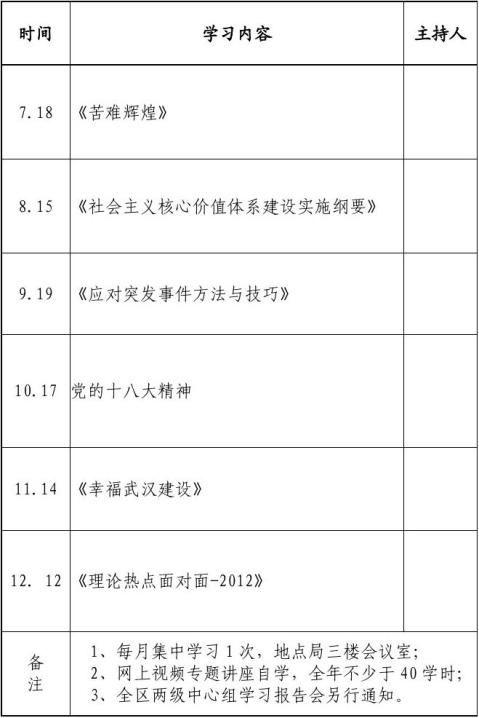 20xx年度党委中心组理论学习计划