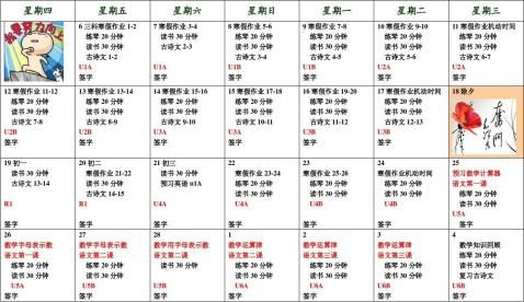 小学生寒假学习计划安排表