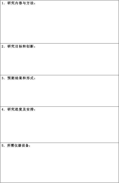 科技创新基金申报书表格