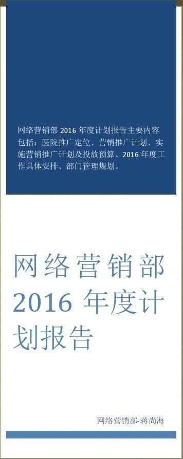 20xx年度网络营销部计划报告