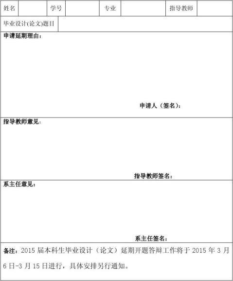 20xx毕业设计论文延期开题申请表