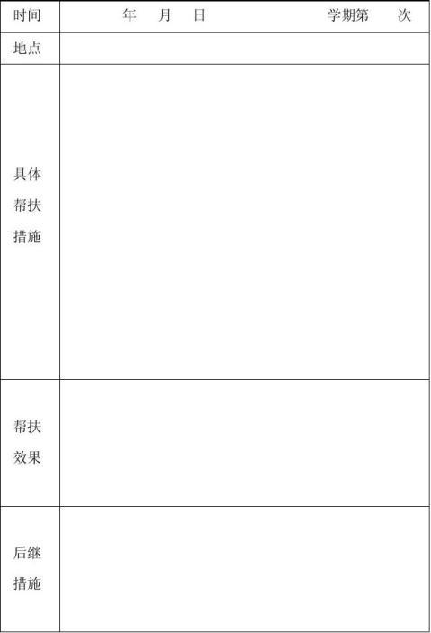 困难学生帮扶工作记录表