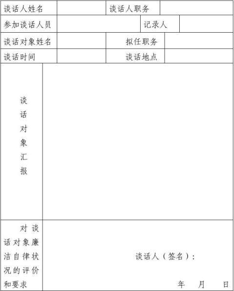 领导干部任前廉政谈话记录表