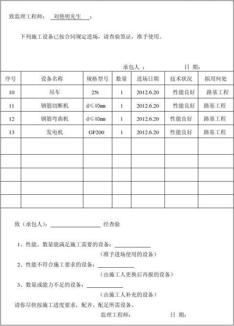 单位工程开工报告表格