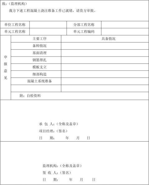 单位工程开工报告中含有建筑工程部分施工用表格