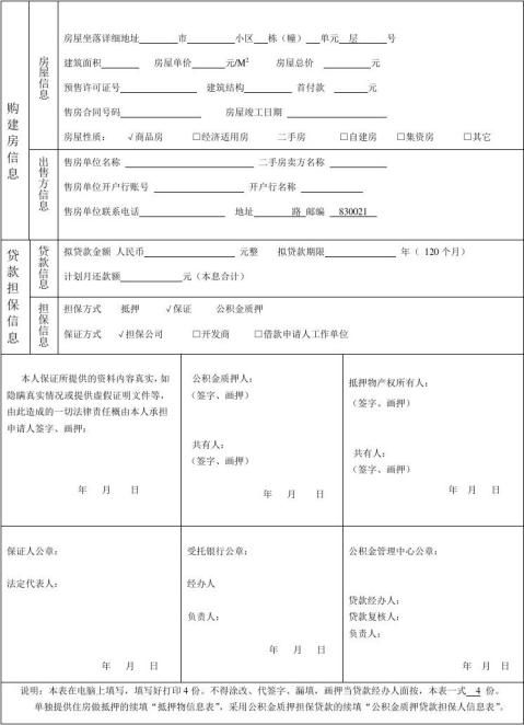 模板贷款申请表