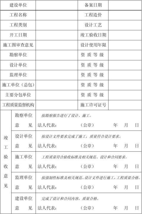 园林绿化工程竣工验收备案表填写