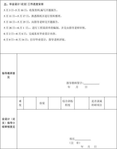施工图预算的开题报告表