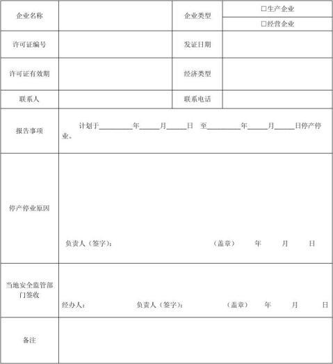 企业停产停业报告表