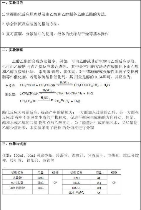 乙酸乙酯的合成实验报告
