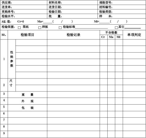 材料检验报告表格